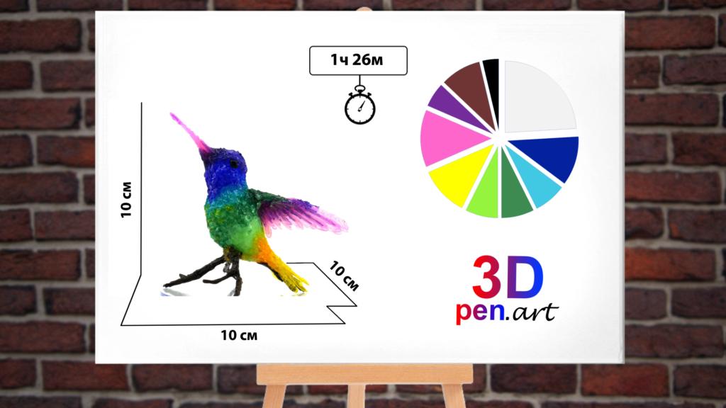 Колибри 3D ручкой. Инфографика