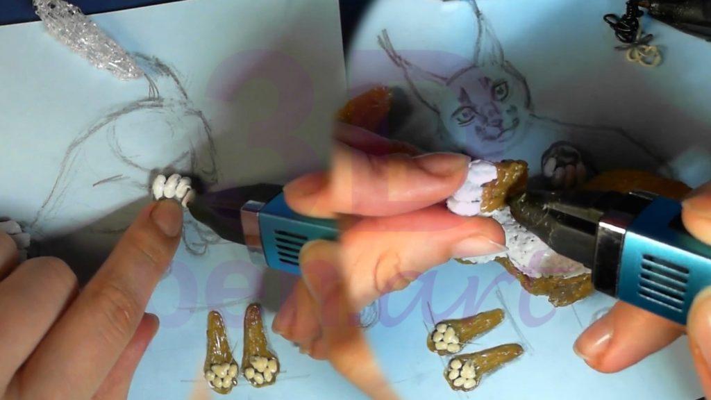 Рысь 3D ручкой. Детализируем лапы