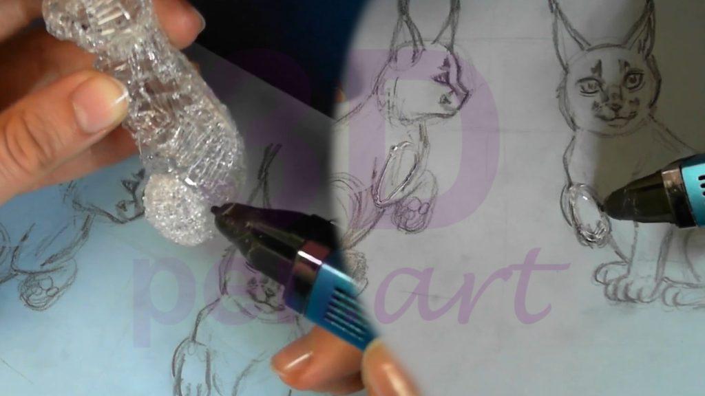 Рысь 3D ручкой. Детали для согнутой лапы