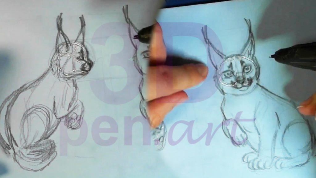 Рысь 3D ручкой. Каркас головы. Детали