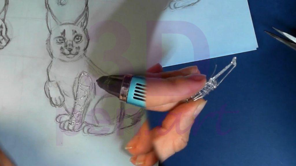 Рысь 3D ручкой. Каркас лапы