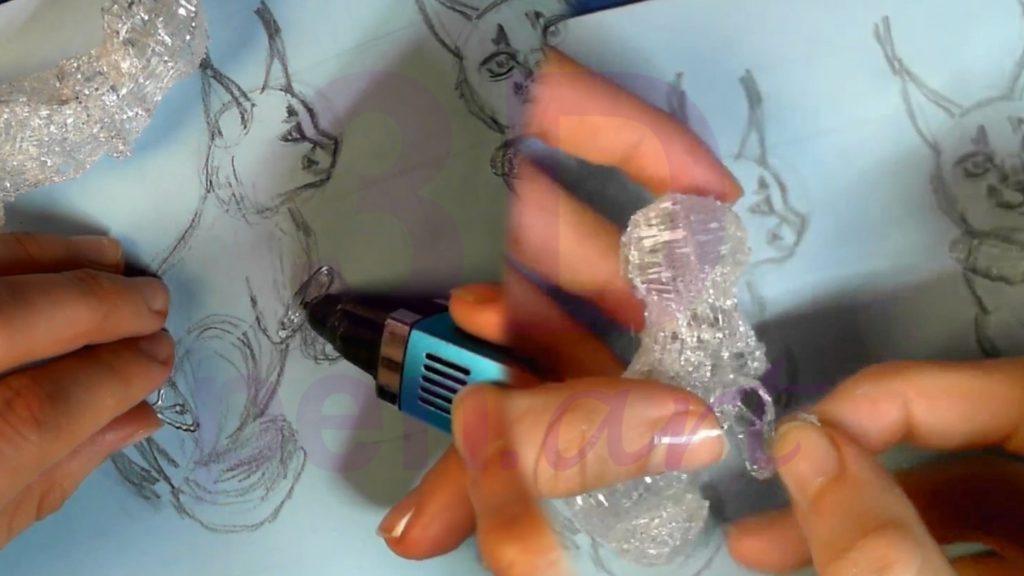 Рысь 3D ручкой. Каркас согнутой лапы