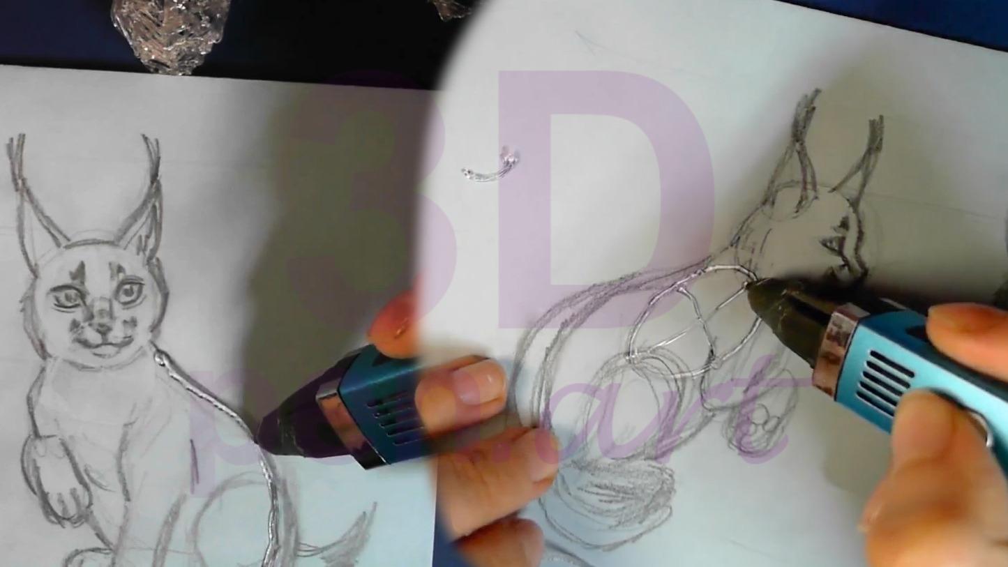 Рысь 3D ручкой. Каркас туловища