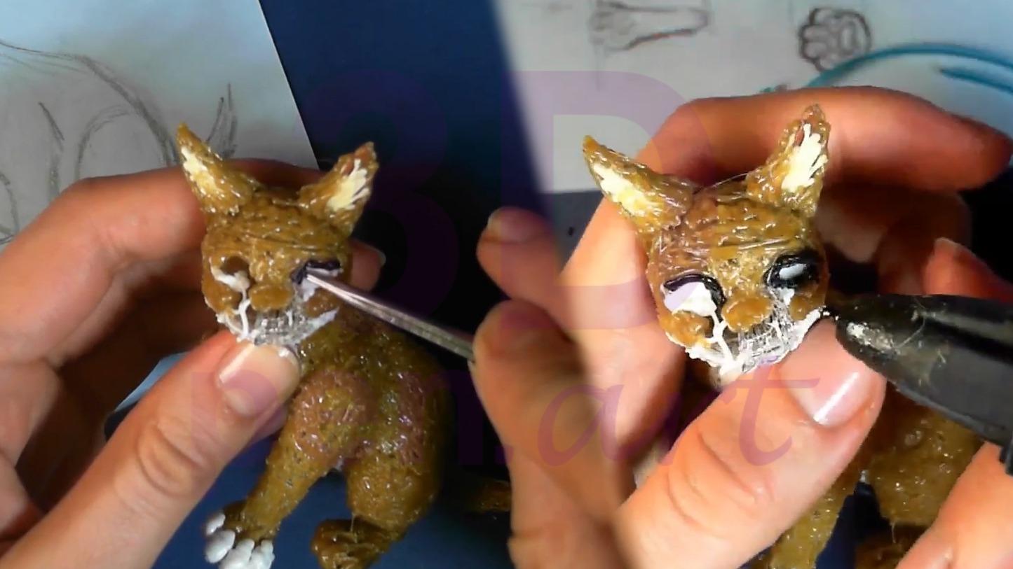 Рысь 3D ручкой. Моделируем глаза