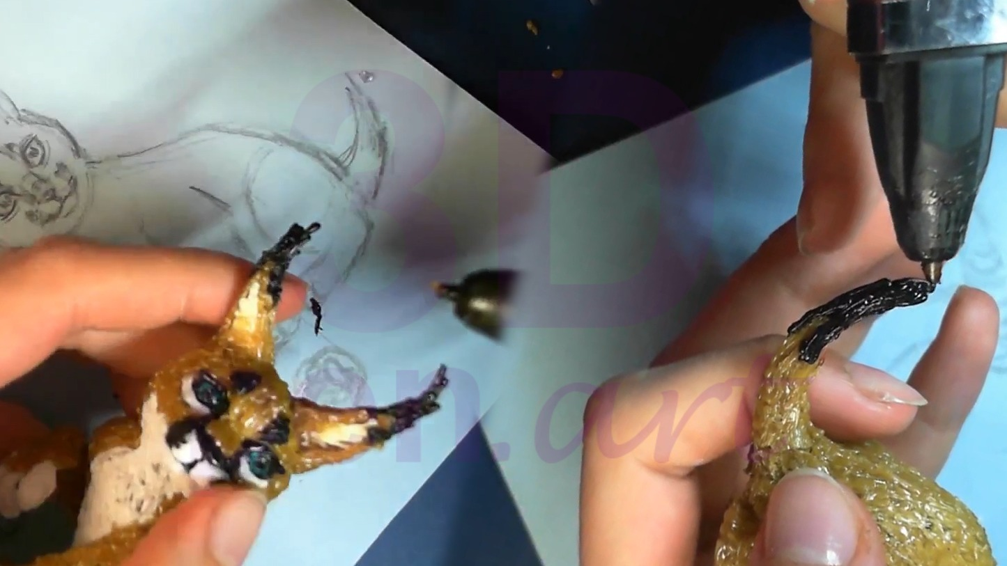 Рысь 3D ручкой. Рисуем кисточки на ушах и хвосте