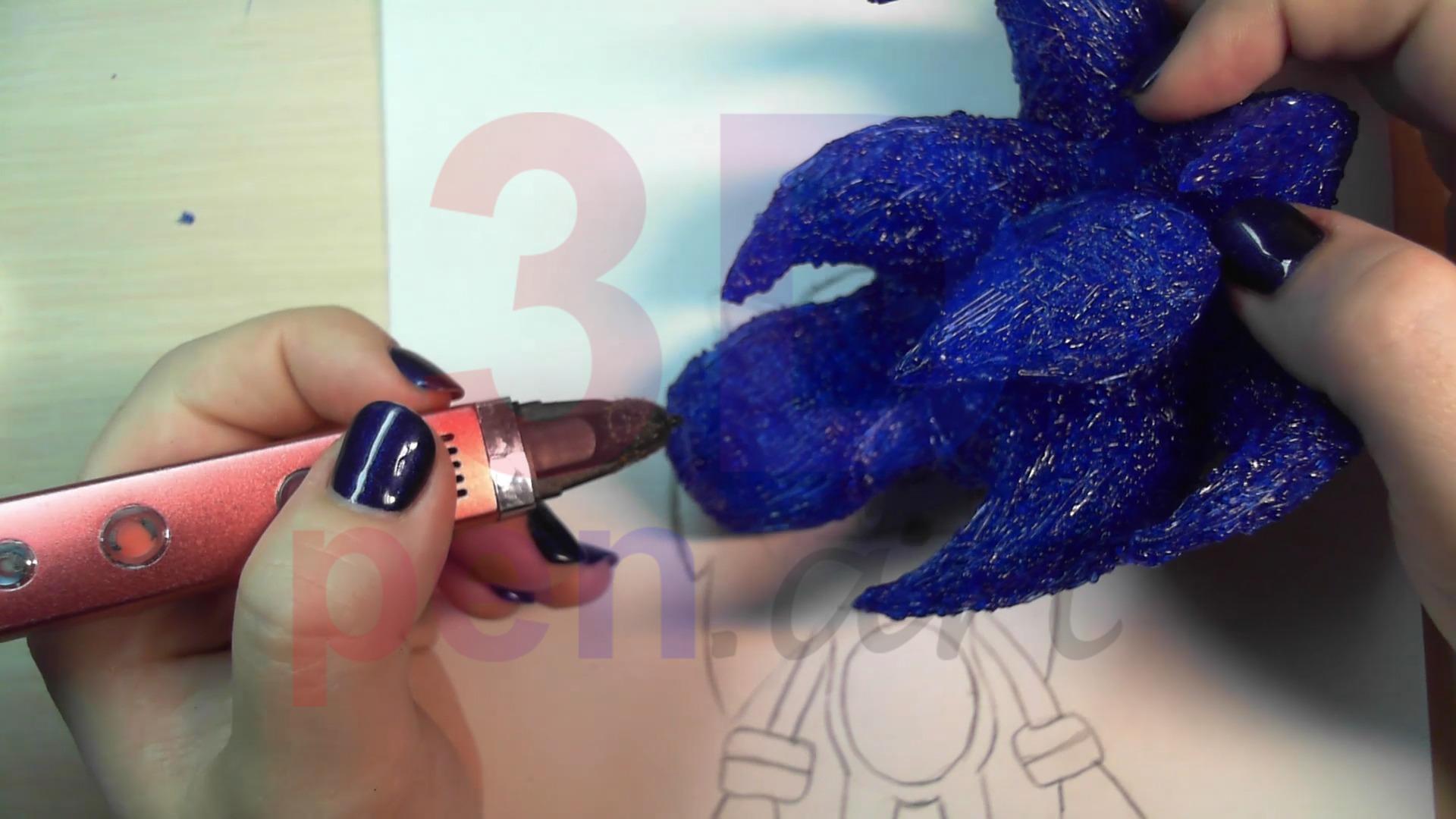 Соник 3D ручкой. Всего понадобится 6 иголок