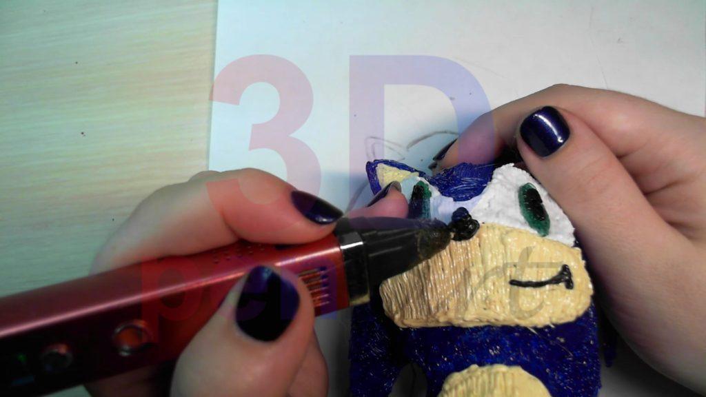 Соник 3D ручкой. Детализируем лицо