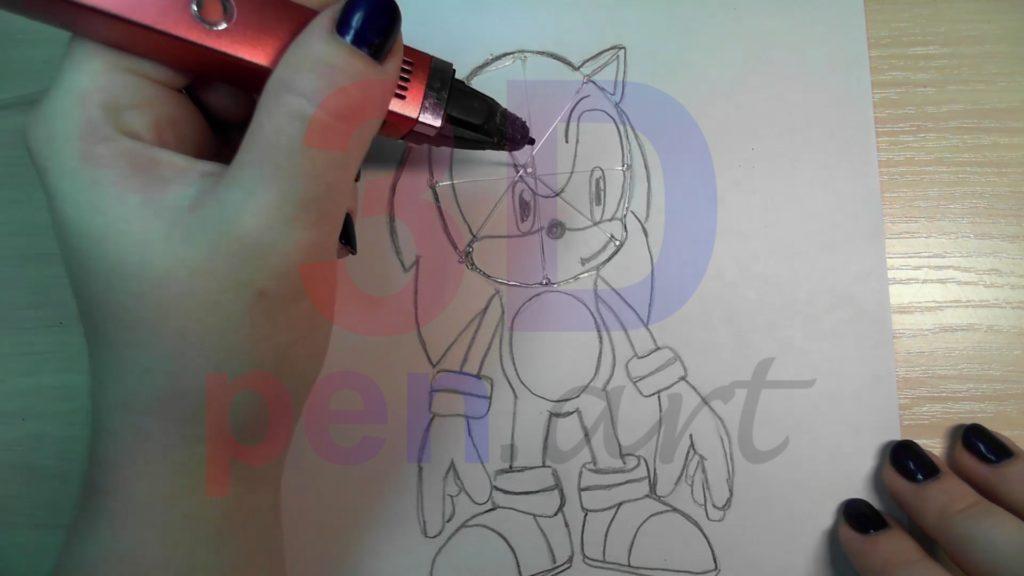 Соник 3D ручкой. Каркас головы
