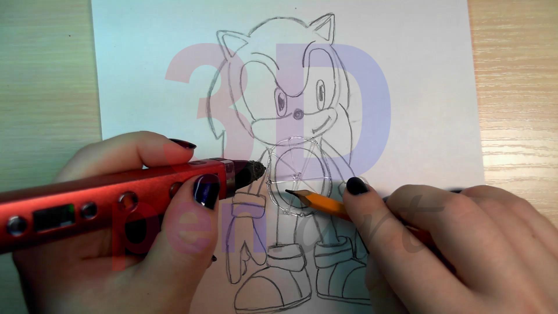 Соник 3D ручкой. Каркас туловища