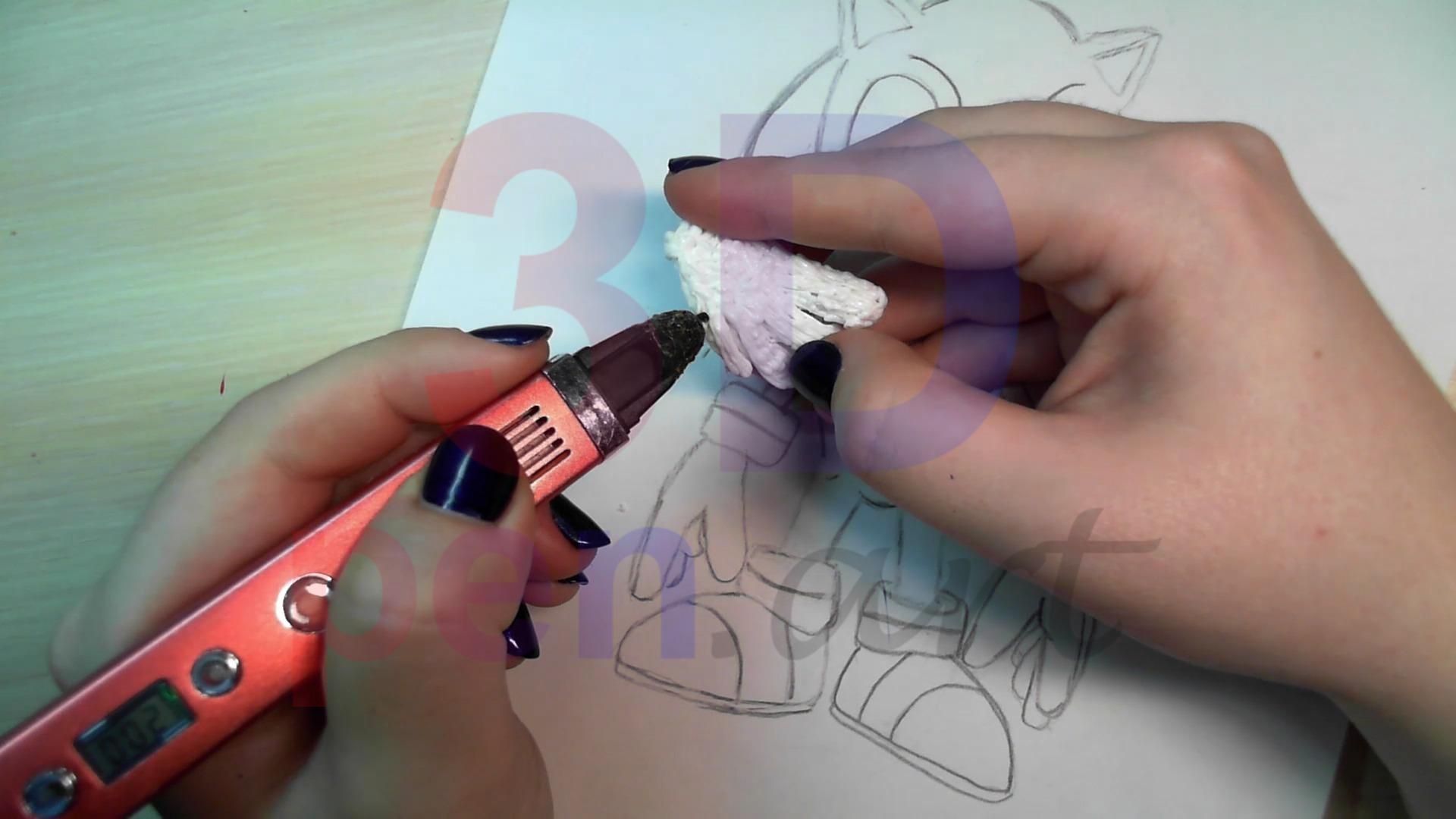 Соник 3D ручкой. Наращиваем объём на пальцах