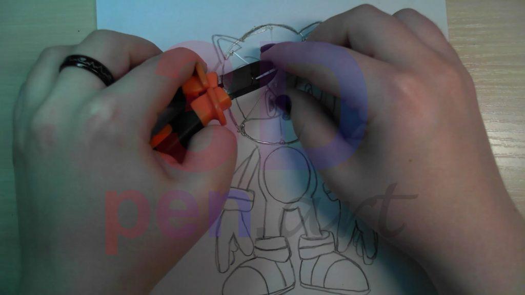 Соник 3D ручкой. Подрезаем прямую