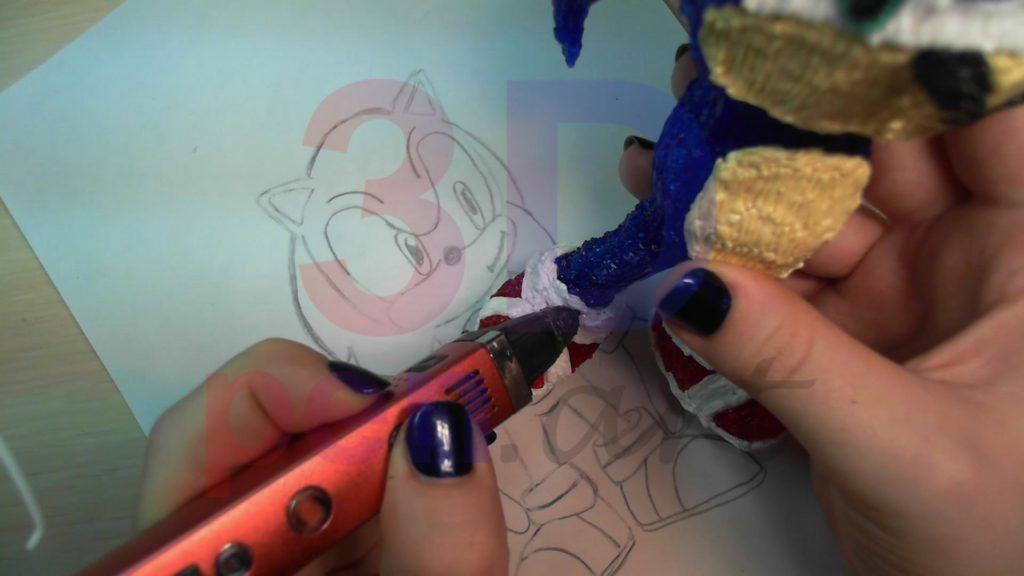 Соник 3D ручкой. Прикрепляем ботинки