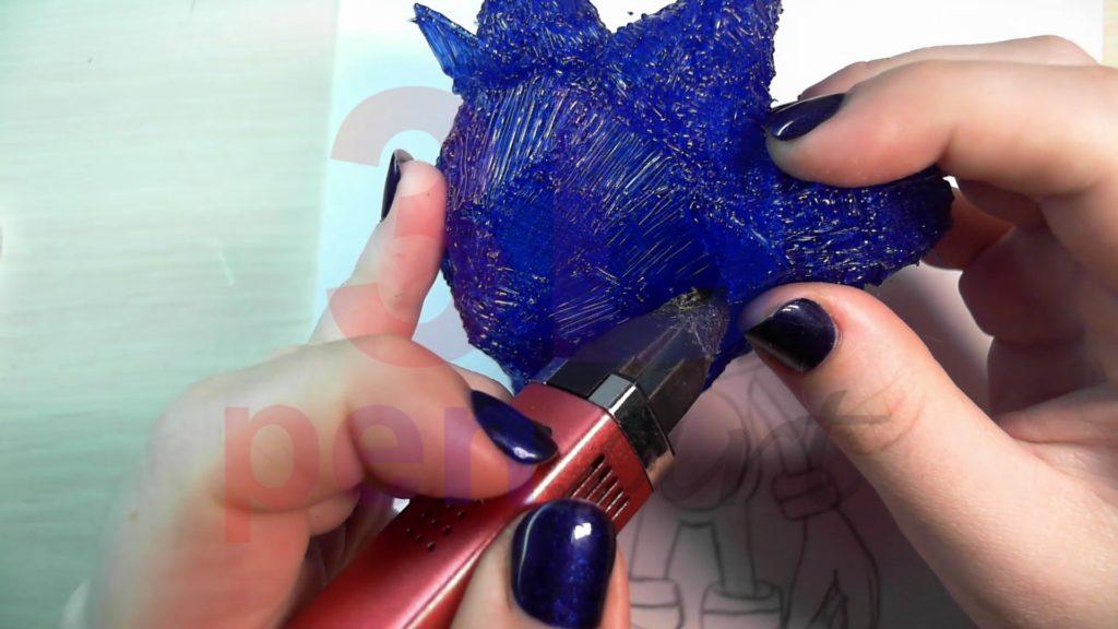 Соник 3D ручкой. Прикрепляем уши