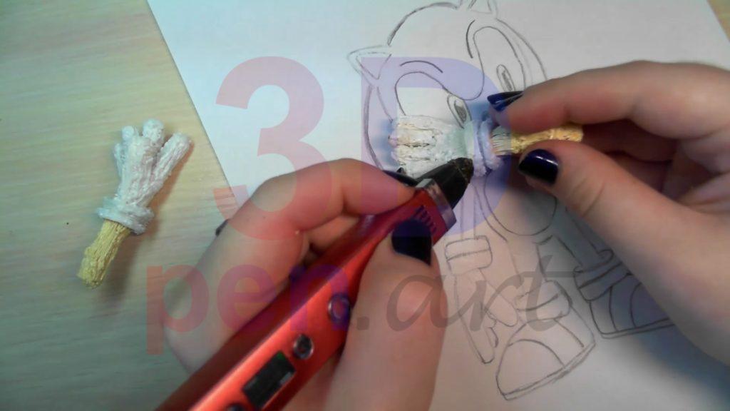 Соник 3D ручкой. Присоединяем руки к перчаткам