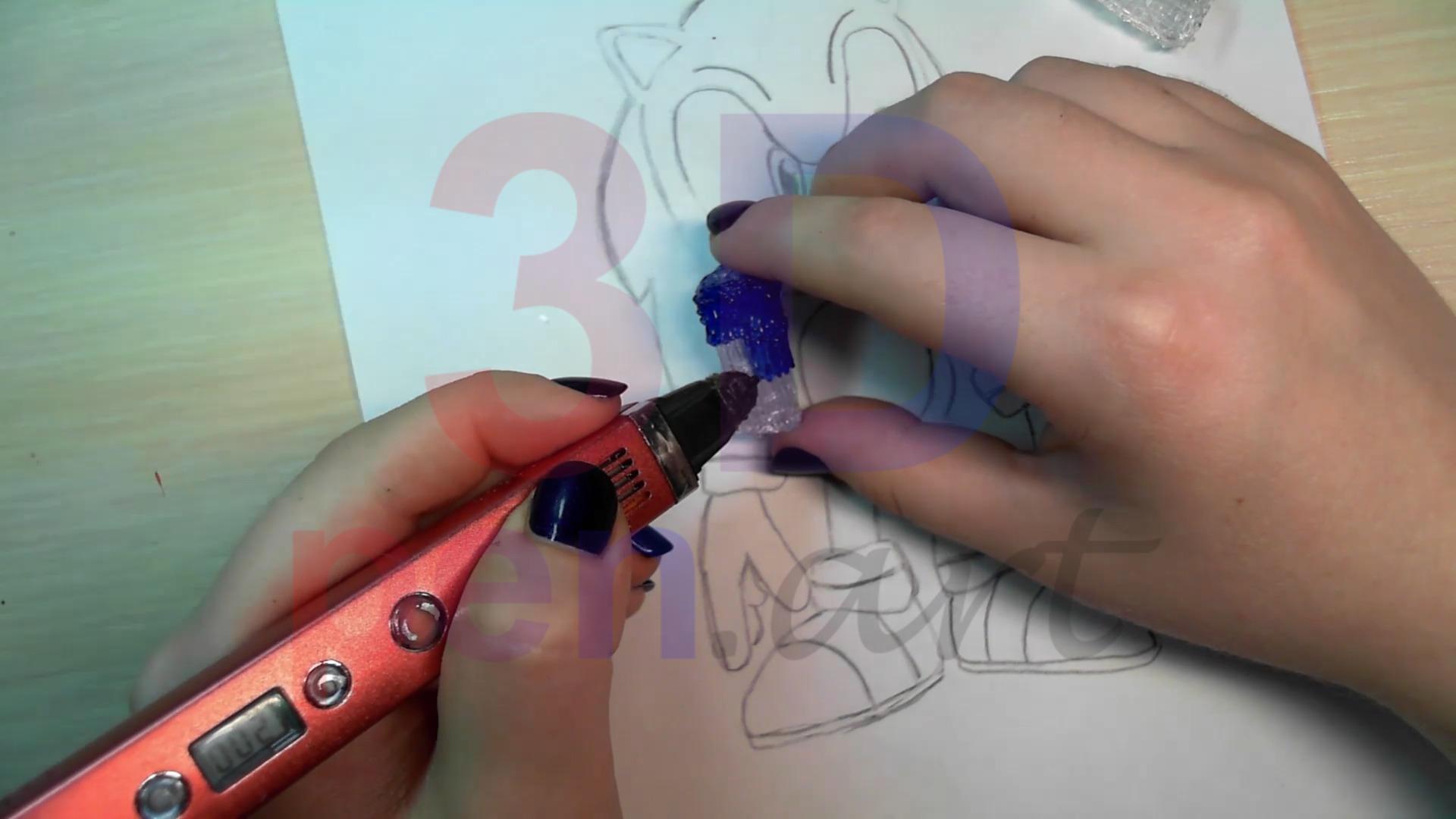Соник 3D ручкой. Раскрашиваем ноги