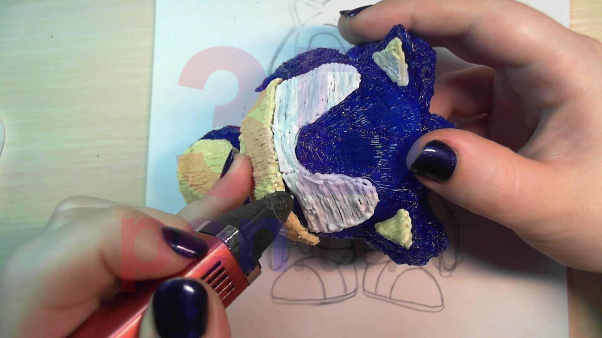 Соник 3D ручкой. Рисуем глаза
