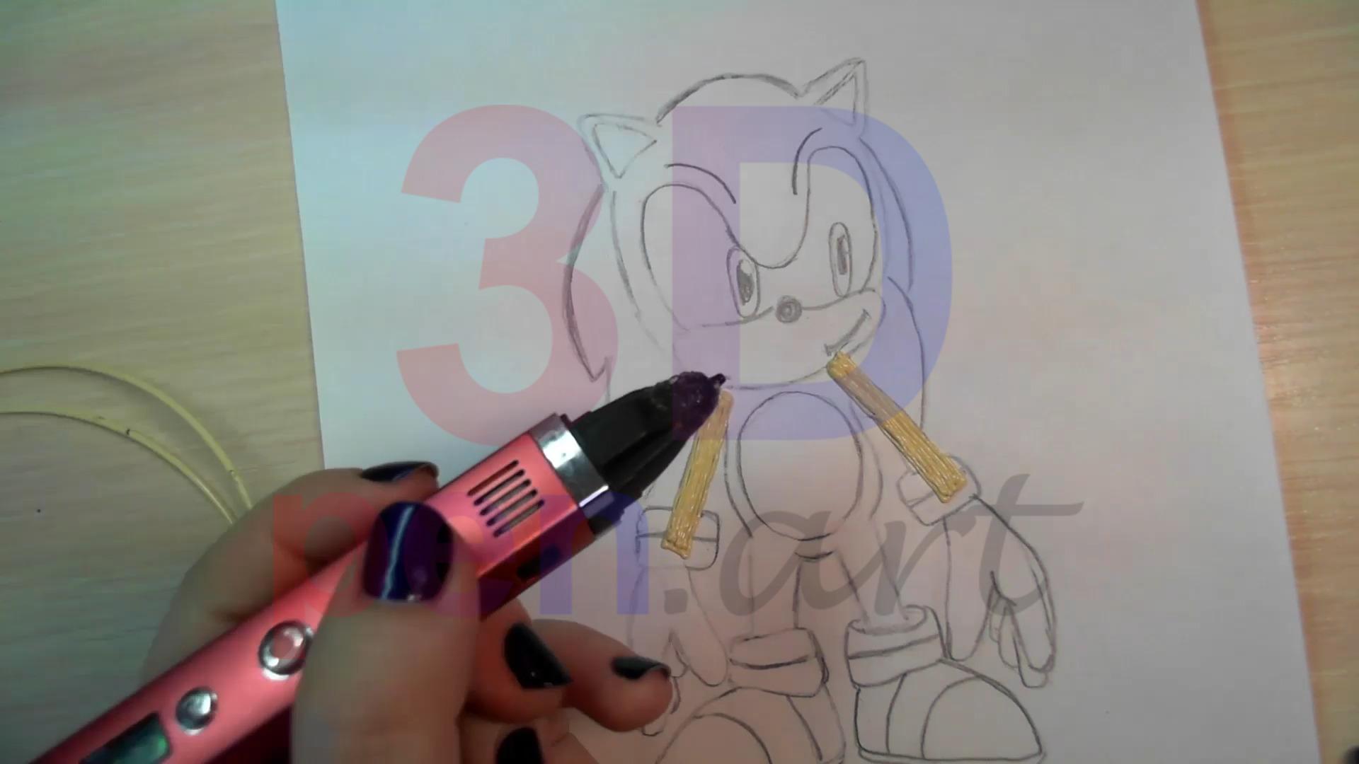 Соник 3D ручкой. Рисуем руки