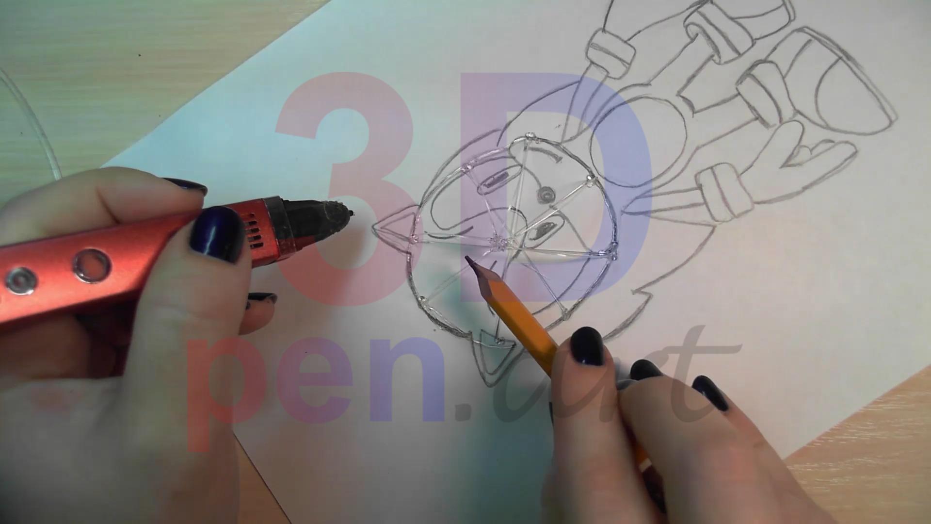 Соник 3D ручкой. Строим каркасные линии