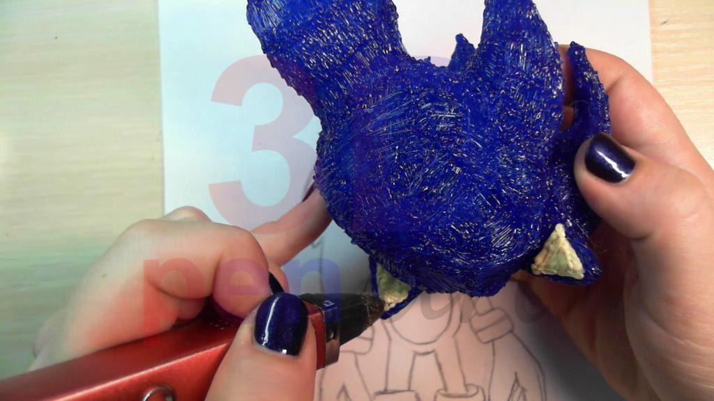 Соник 3D ручкой. Украшаем уши