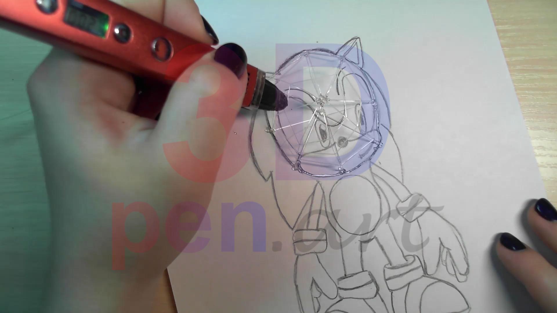Соник 3D ручкой. Укрепляем каркас сеткой