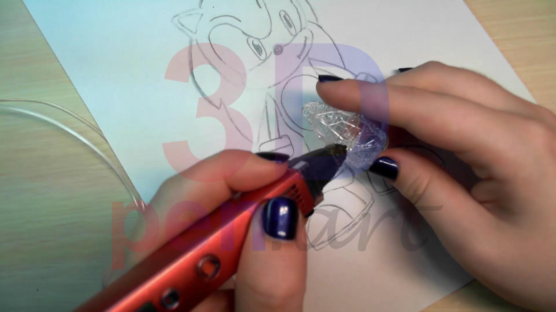 Соник 3D ручкой. Черновая штриховка ботинок