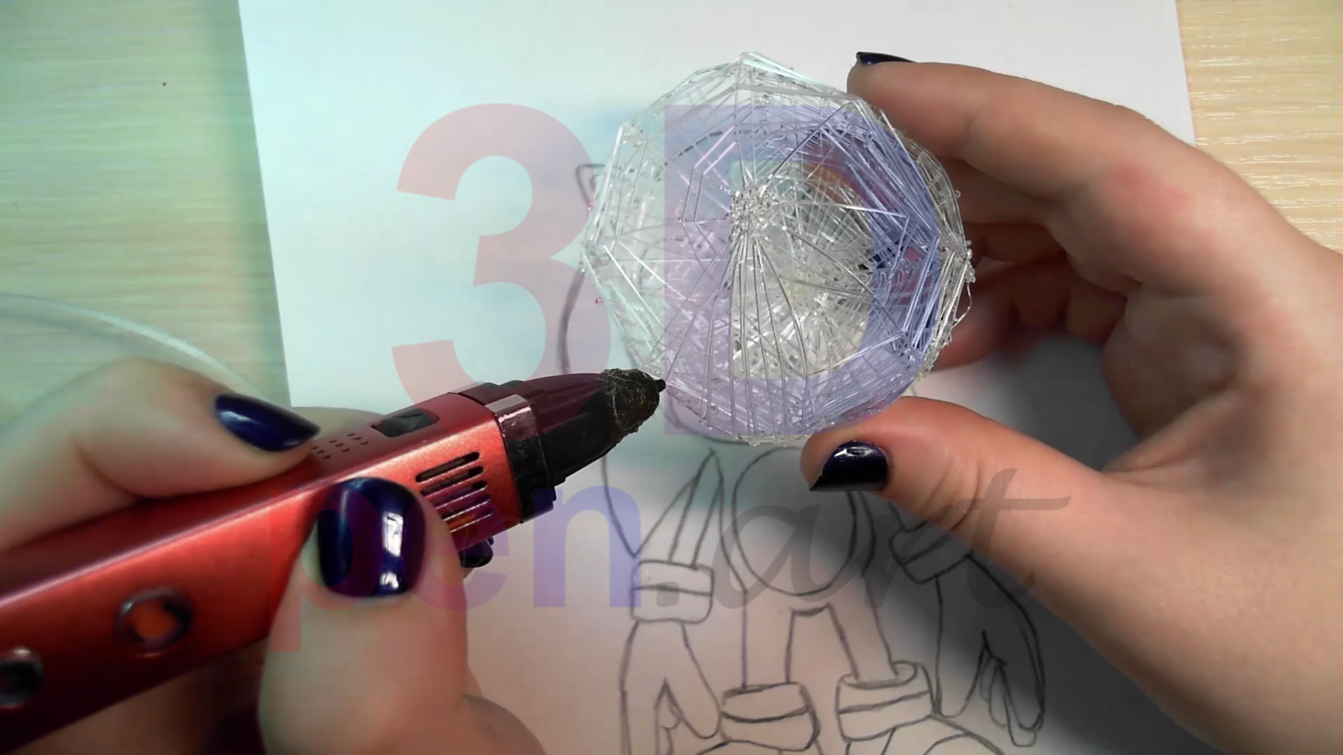 Соник 3D ручкой. Черновая штриховка головы
