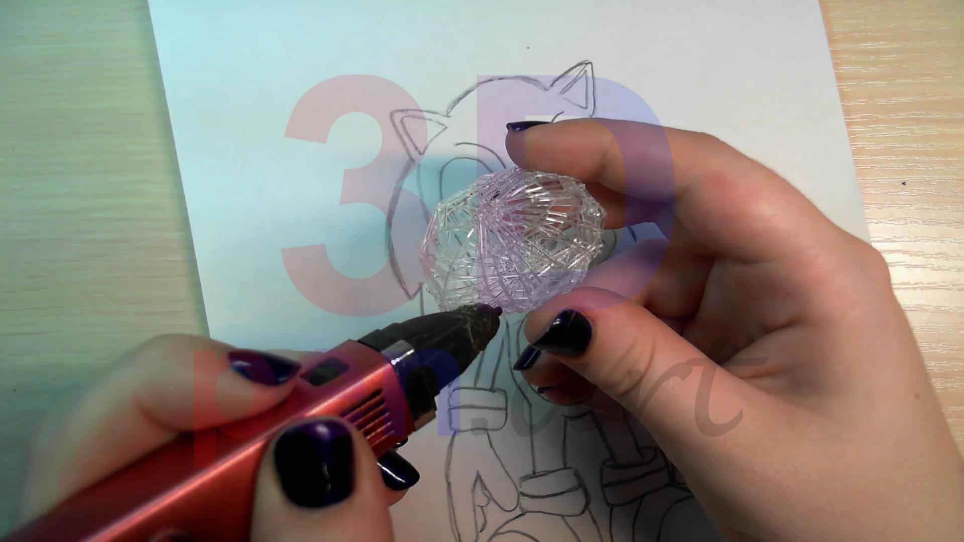 Соник 3D ручкой. Черновая штриховка туловища