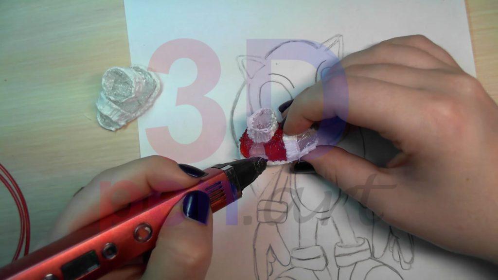 Соник 3D ручкой. Чистовая штриховка ботинок
