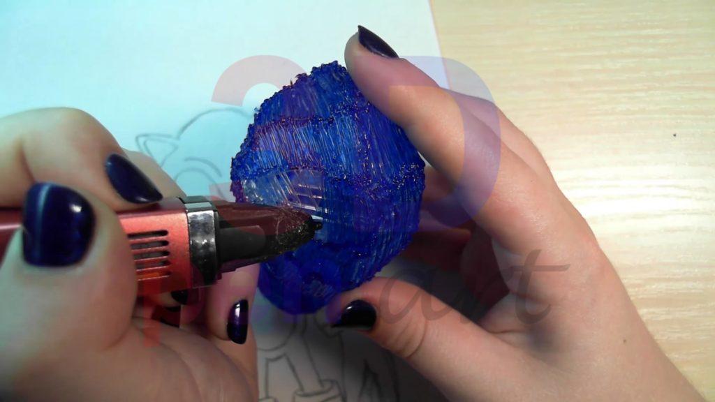 Соник 3D ручкой. Чистовая штриховка головы