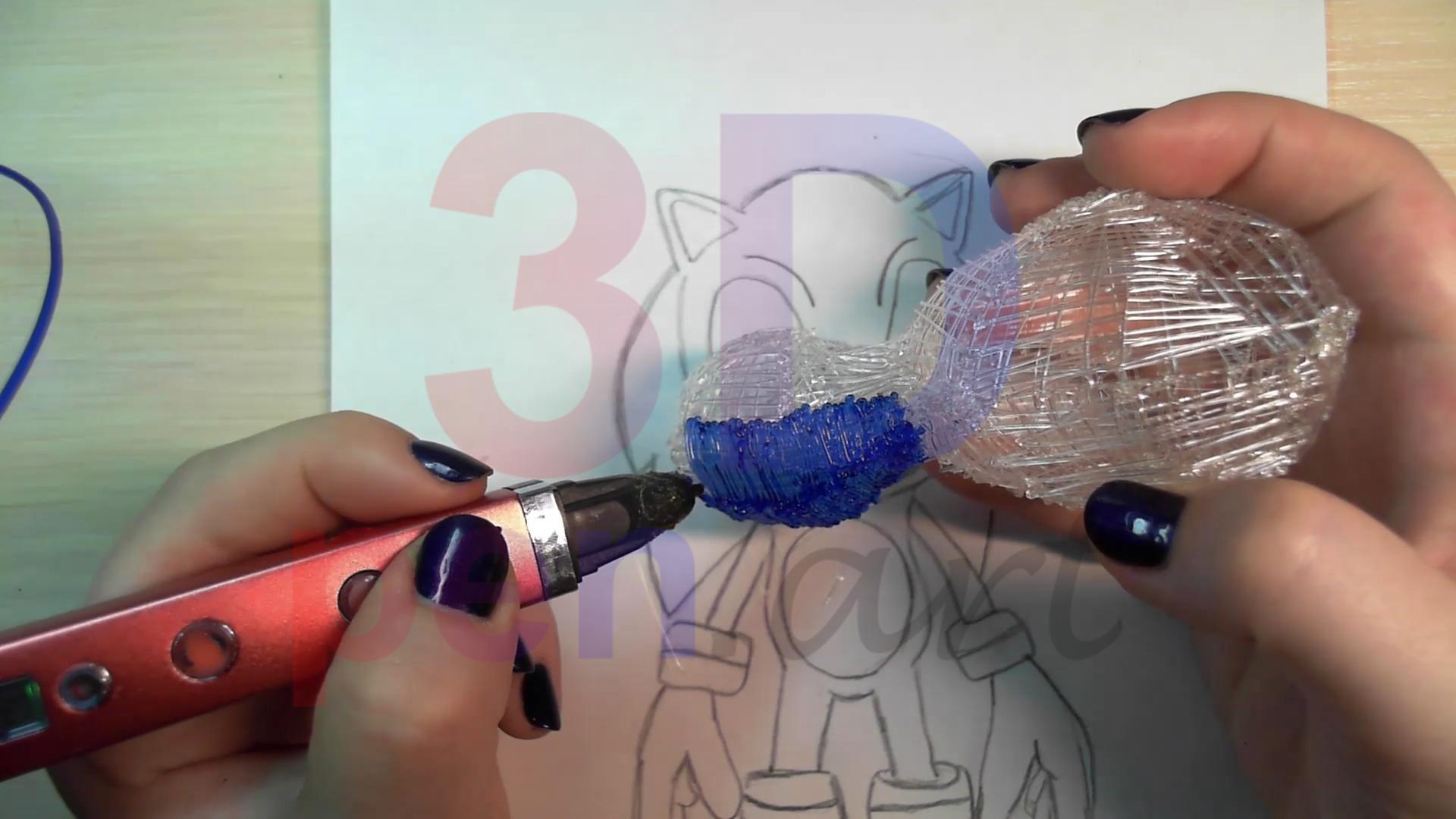 Соник 3D ручкой. Чистовая штриховка туловища