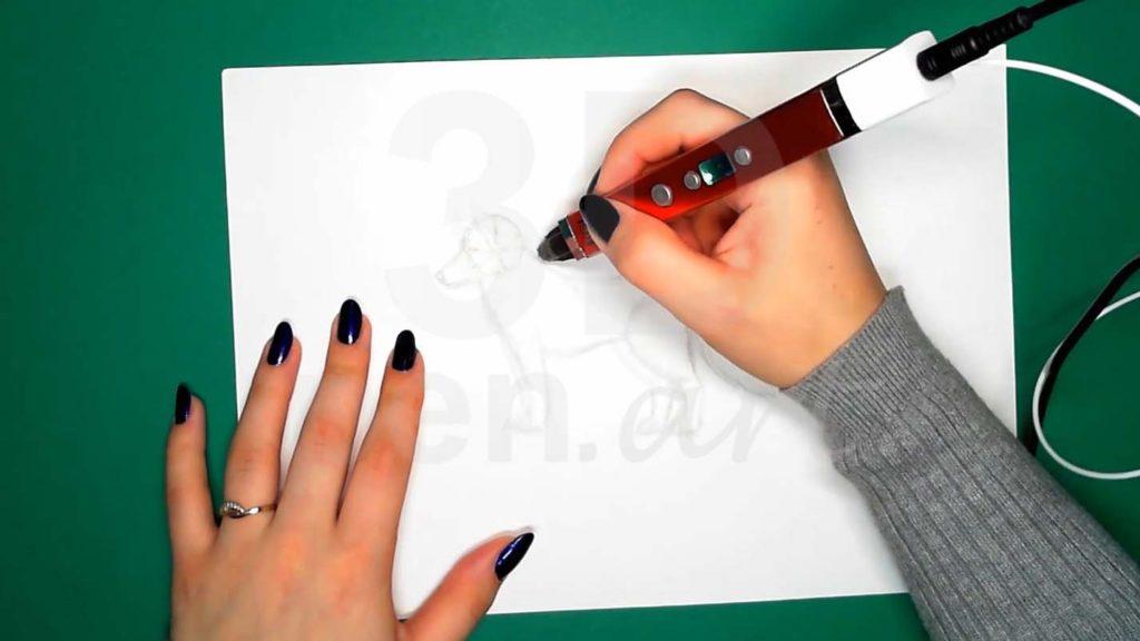 Хаски 3D ручкой. Основа каркаса головы