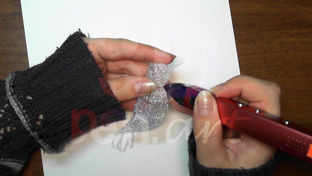 Колибри 3D ручкой. Соединяем туловище с головой