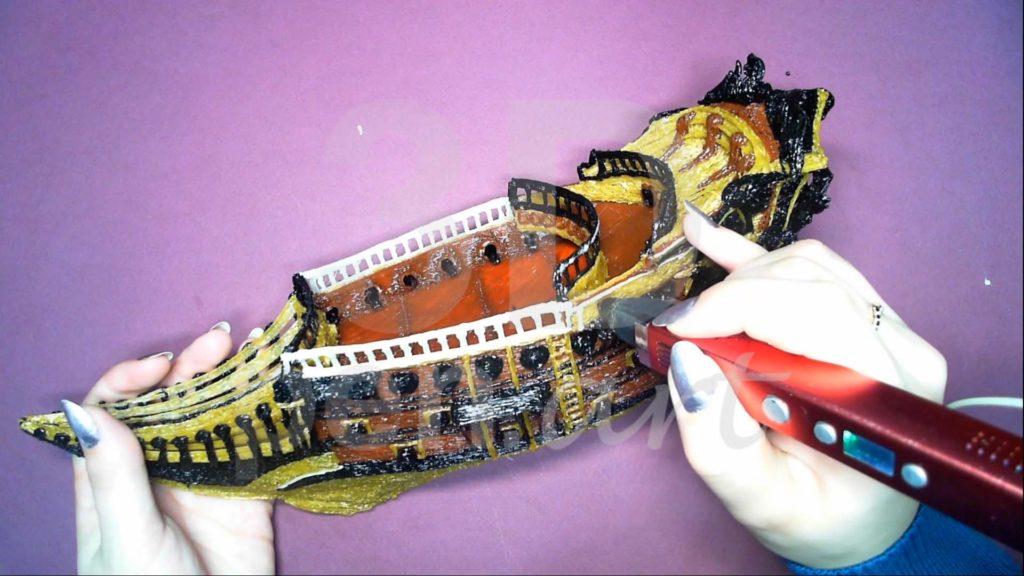 Корабль 3D ручкой. Детализация светлым