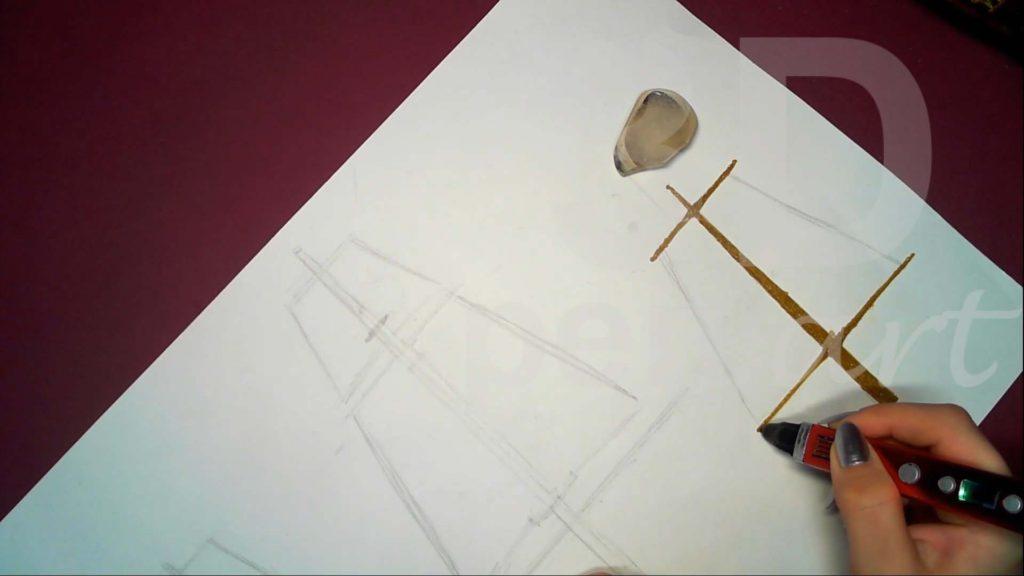 Корабль 3D ручкой. Бизань-мачта