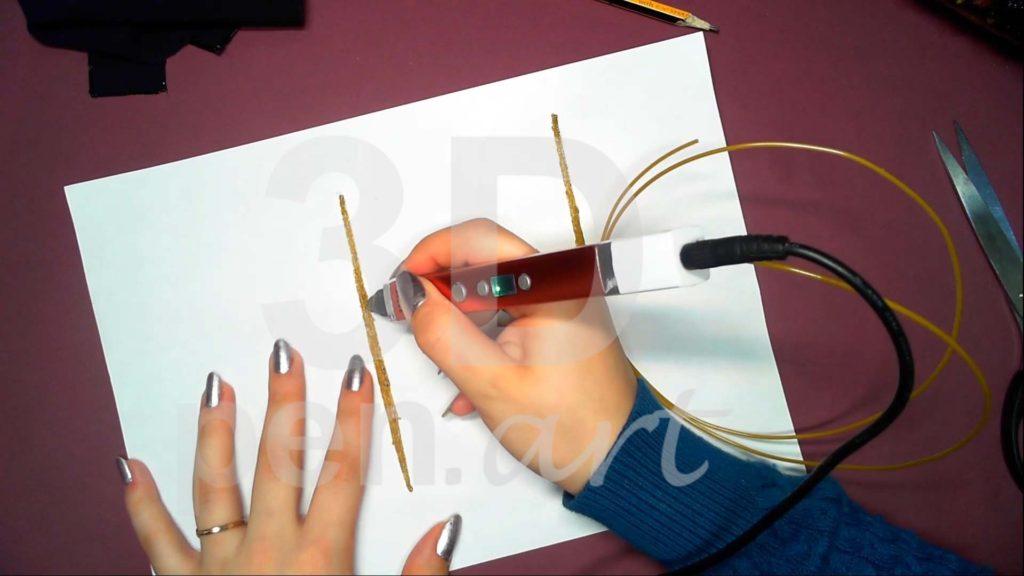 Корабль 3D ручкой. Штриховка деталей мачт