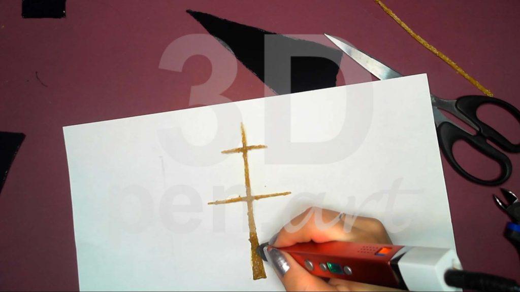Корабль 3D ручкой. Штриховка бушприта