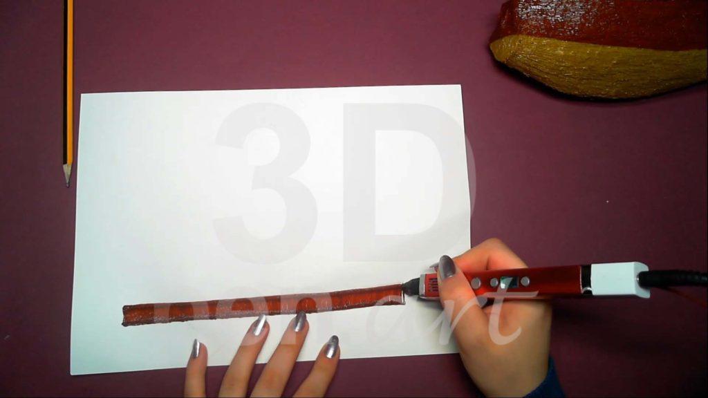 Корабль 3D ручкой. Штриховка бортов