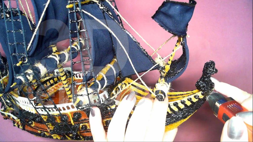Корабль 3D ручкой. Крепим гальюнную фигуру