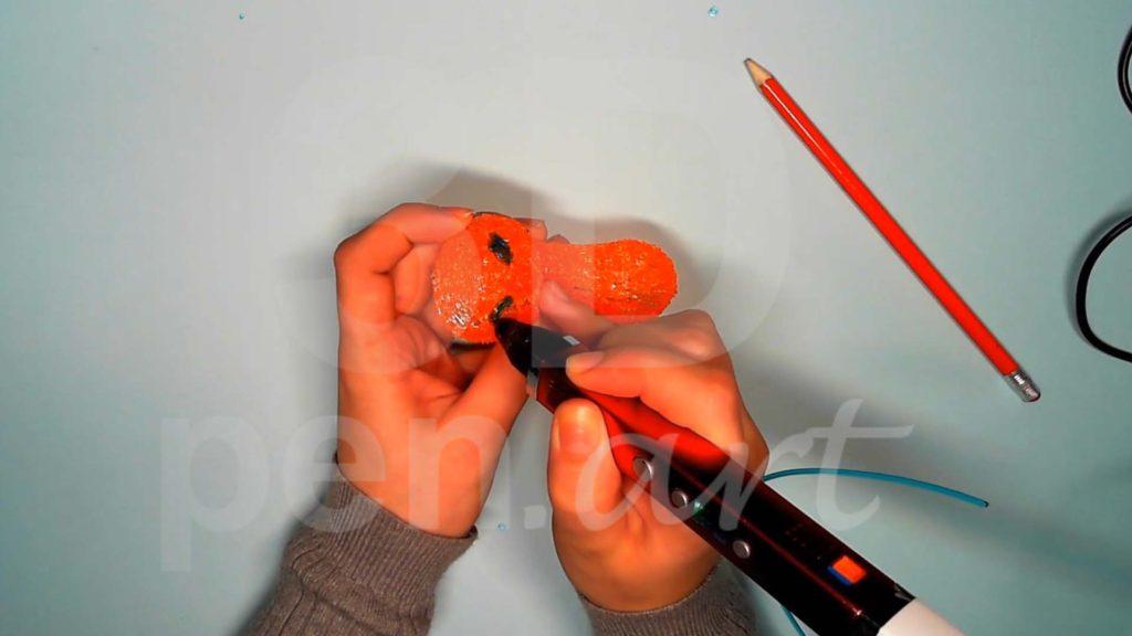 Лисёнок 3D ручкой. Рисуем глаза