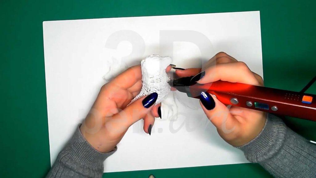 Хаски 3D ручкой. Черновая штриховка тела
