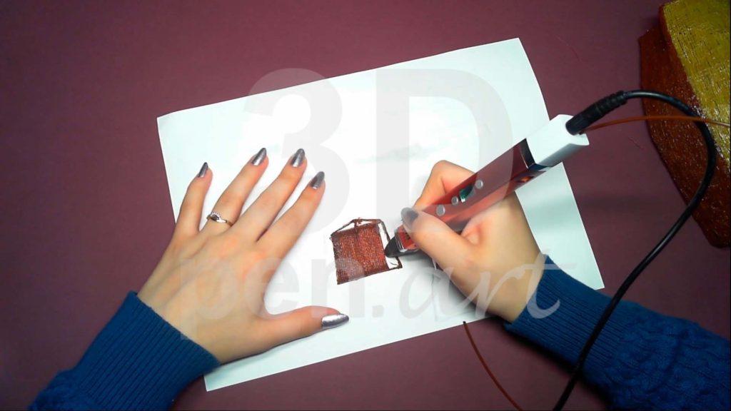 Корабль 3D ручкой. Штриховка основы гакаборта