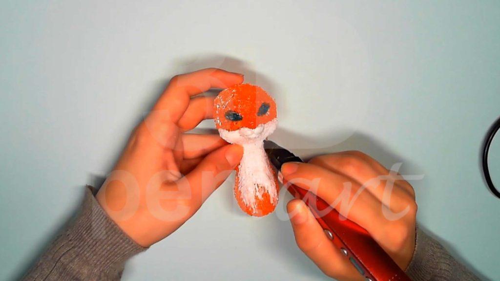Лисёнок 3D ручкой. Добавляем белый на тело