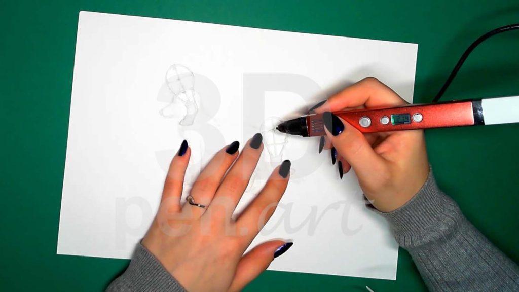 Хаски 3D ручкой. Каркас задних лап. Центральные прямые