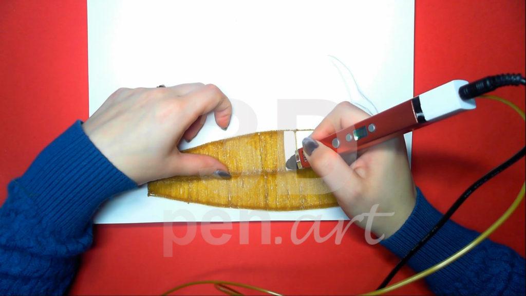 Корабль 3D ручкой. Штриховка основы