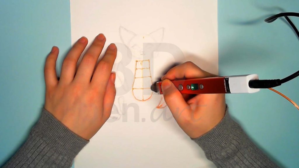 Лисёнок 3D ручкой. Рисуем основы каркасов