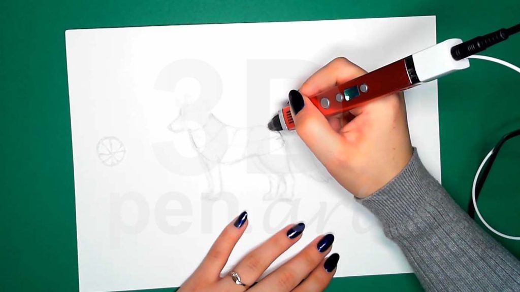 Хаски 3D ручкой. Основа для каркаса тела