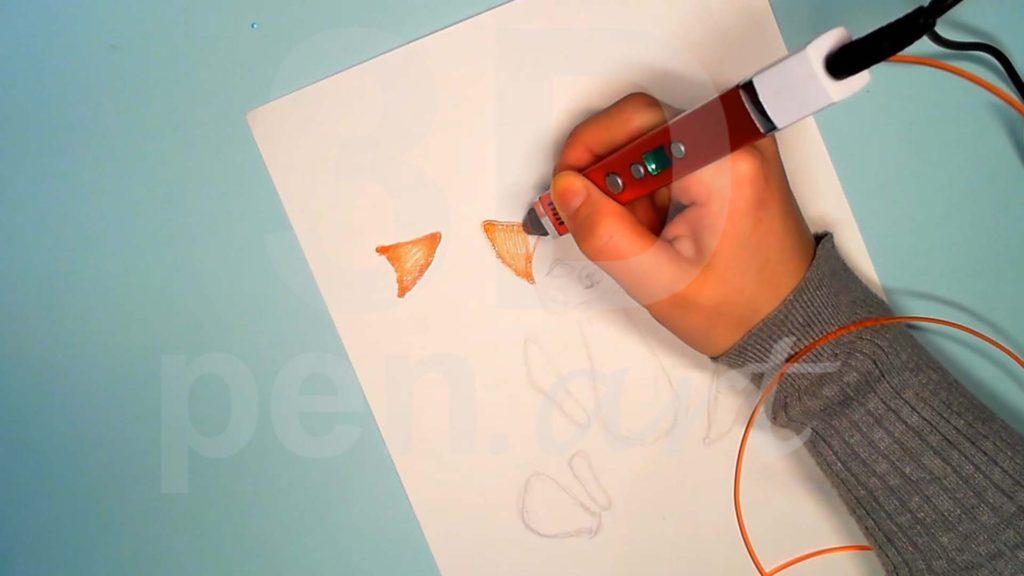 Лисёнок 3D ручкой. Штриховка ушей