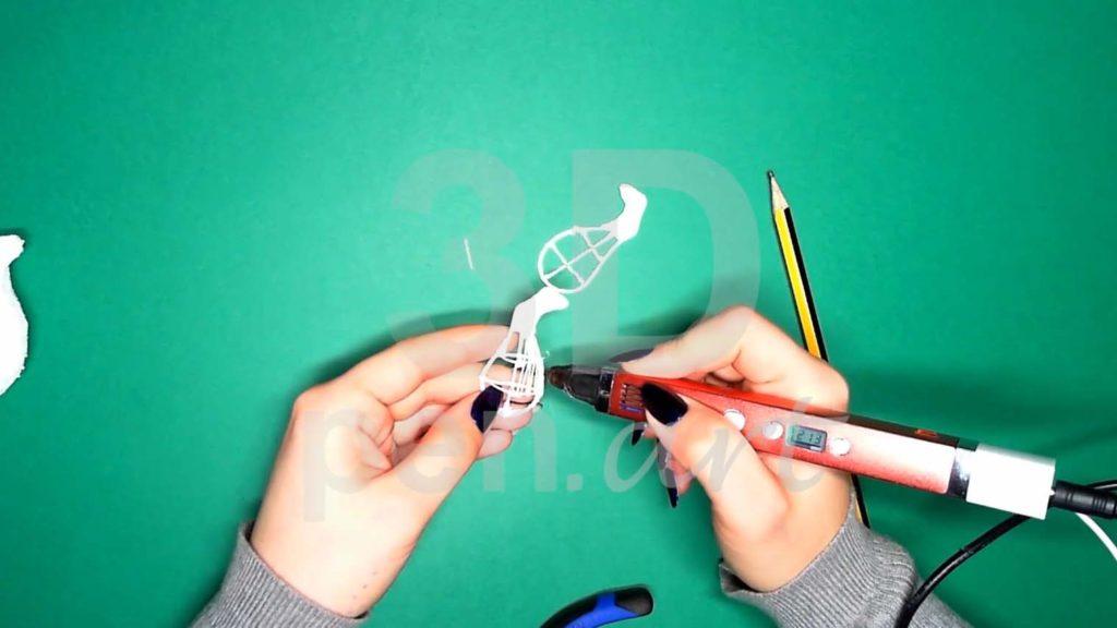Хаски 3D ручкой. Каркас задних лап.