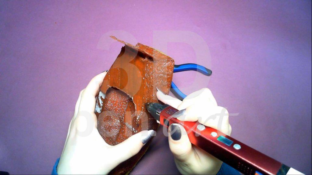 Корабль 3D ручкой. Присоединяем кормовую деталь к основе