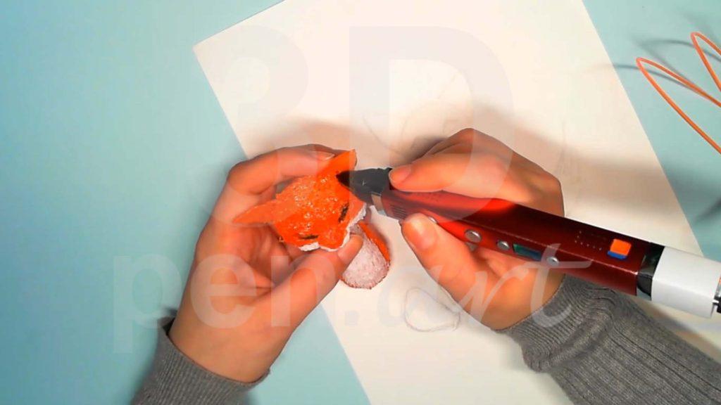 Лисёнок 3D ручкой. Присоединяем уши